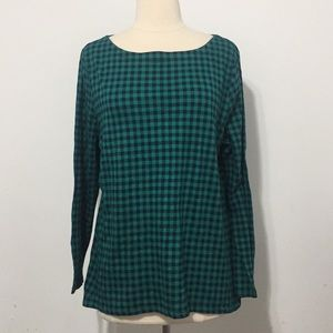 ⭐️Talbots Green Plaid Round Collar longsleeves⭐️XL